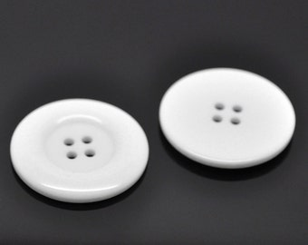 NEW LOT OF 25 WHITE COLOR 1 INCH 2 HOLE BUTTONS
