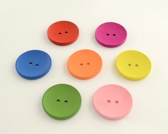 Painted Wood Trees 12 Round Tree Design Wooden Buttons 20mm Mixed Colours