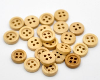 12 Tiny Brown Shirt Buttons 11mm Baby Doll Clothes Card Making Crafts 4 Hole