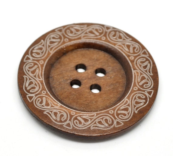 10 Extra Large Brown Wooden Button Wood Buttons... 2 3//8 inch 4 hole 6cm