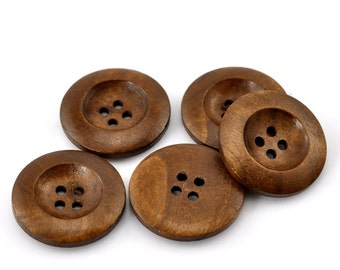 """25 Brown Wooden Buttons - 25mm (1 inch) - 4 Holes -  Round Sewing Wood Buttons 25mm (1"""")  (21317)"""