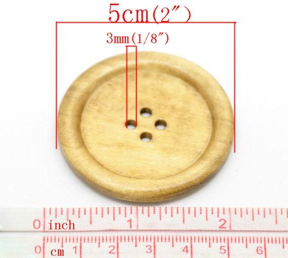 2 3//8 Pouces 10 Extra Large Marron Boutons en Bois 4 trous Bois Boutons... 6 cm