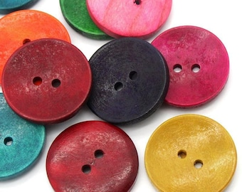 50 Large Mixed Color Wooden Buttons - 30mm (1 1/8 Inch) -  Mixed Colors - 2 Hole - Mixed Wood Button (23789)