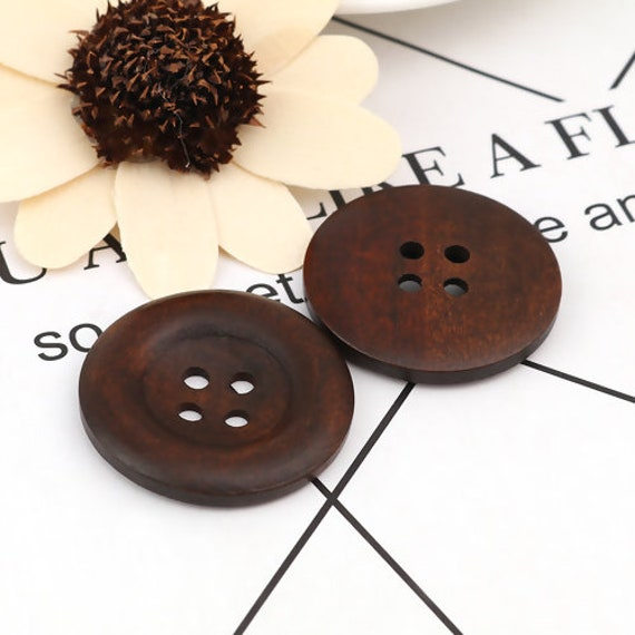 6 Pcs Large Dark Coffee 4 Holes Round Wood Sewing Buttons 35 mm