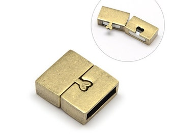 Antique Bronze Magnetic Clasps - 18mm x 16mm x 6mm -  Nickel Free - Square Bronze Clasp for Leather Cord or Bracelet (PM045-AB-NF)