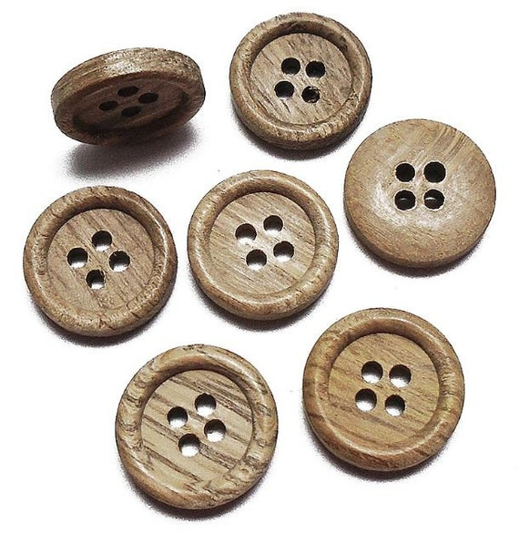 Set of 5-Stunning Natural//Brown WOOD Wooden 2-Hole 23mm Smooth BUTTONS