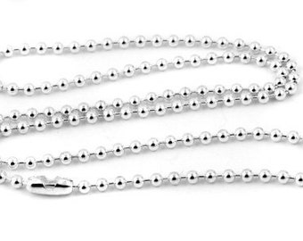 """50 Silver Ball Chain Necklace - 18"""" - 2.4mm - Ball Chains"""