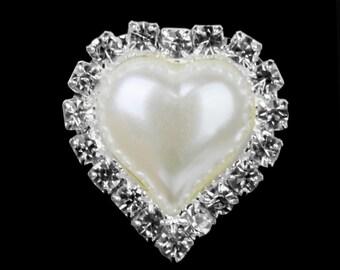 Heart Ivory Pearl Rhinestone Flatback Button - Silver - 23mm Metal Embellishment - Pearl Rhinestone Buttons - Hair Bow Centers