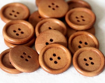 """5 Light Rusty Brown Wooden Buttons -  4 Holes -  Round Sewing Wood Buttons 25mm (1"""")"""