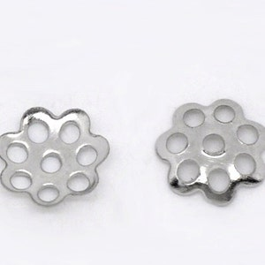 00858 Lead Nickel Safe 6mm Fits 8mm to 14mm Beads 100 Silver Bead Caps