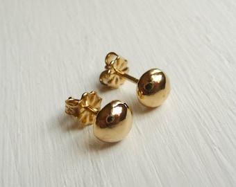 Small Vermeil-Gold Nugget Post earrings - Handmade small stud earrings
