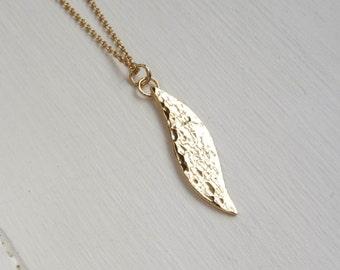 "Gold(Vermeil) Hammered ""Kurve"" Necklace - Small Kurve Pendant - Handmade Necklace"