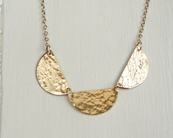 Gold Scalloped Necklace - Vermeil - Handmade -18 inch length