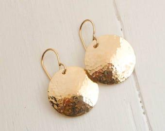 Simple Gold Hammered Dangle Earrings - Handmade Vermeil (Gold Plated) earrings