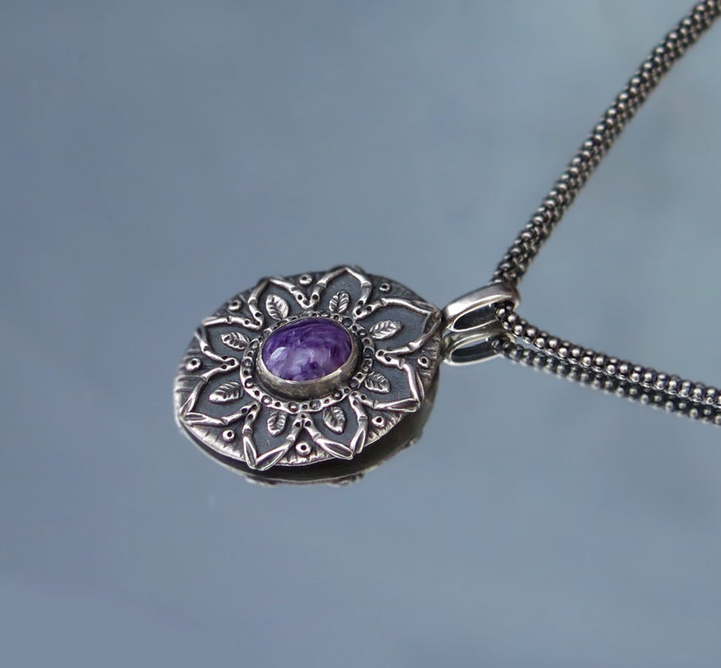 Charoite pendant special Gift for her silver pendant spring image 0