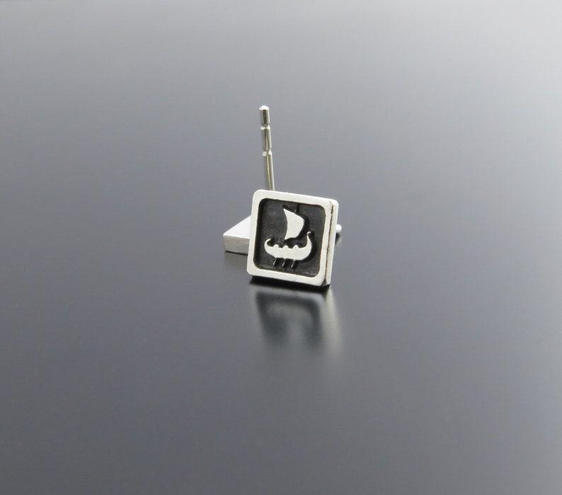 Viking Boat Sterling Silver Earrings Drakkar Earrings image 0
