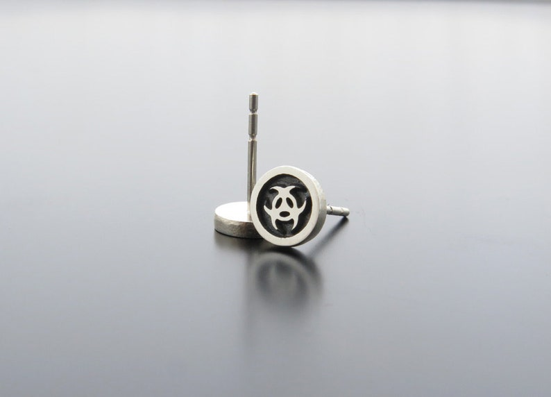 Biohazard symbol biohazard earrings silver earrings image 0