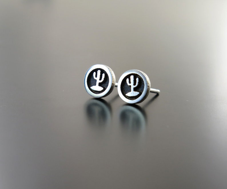 Cactus Earrings Sterling Silver earring posts silver posts image 0