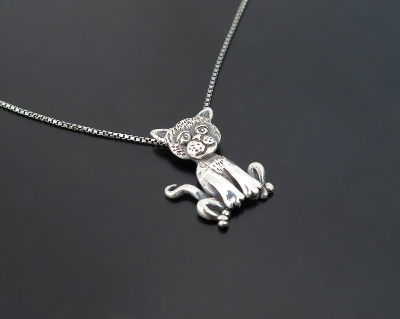 cat pendant cat pendant silver cat fine jewelry cat pendant image 0