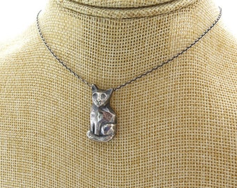 Handmade cat pendant, Cats Jewelry, Silver Cat Pendant, silver kitten jewelry, Cat Necklace, Gift for Her, big cat necklace