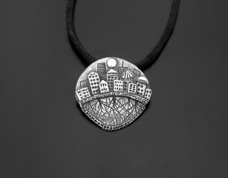 City necklace landscape necklace city pendant image 0