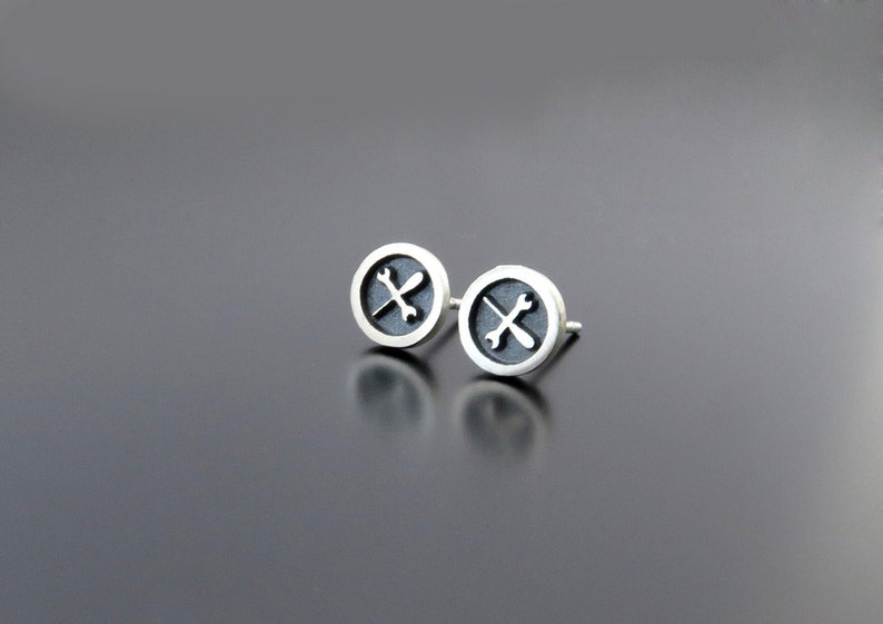 Silver Wrench and Screwdriver Earrings mens earring posts image 0