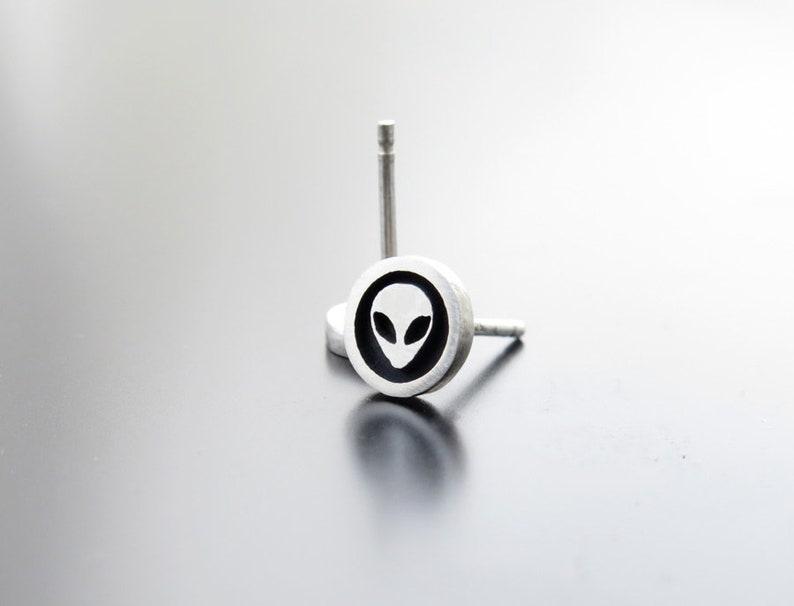 Alien silver earrings alien silver posts ear studs silver image 0