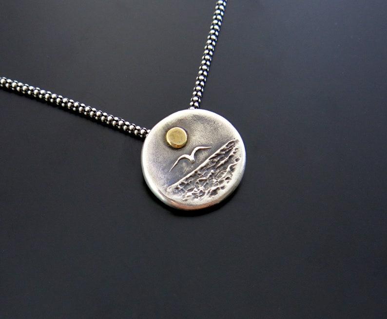Sunshine pendant sea pendant silver gold sun necklace sea image 0