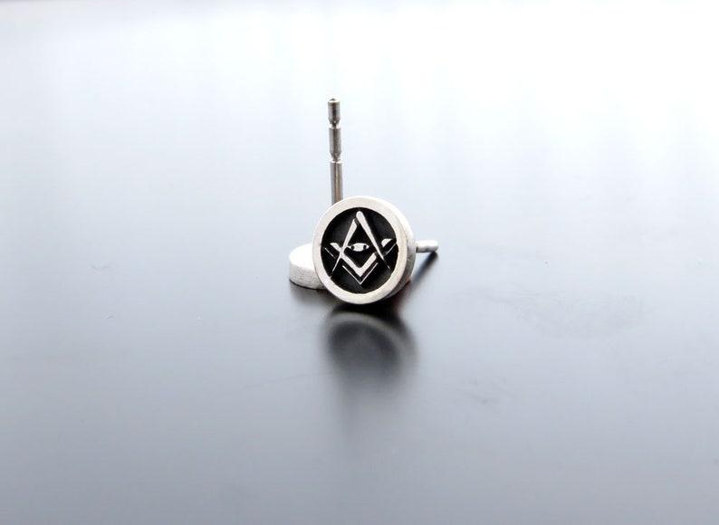 255214ff282bb Silver Freemasons Earring Posts, Masonic Symbol Studs, round ear studs,  Circle Studs, Masonic Earrings, Earrings for Him, Freemasons Jewelry