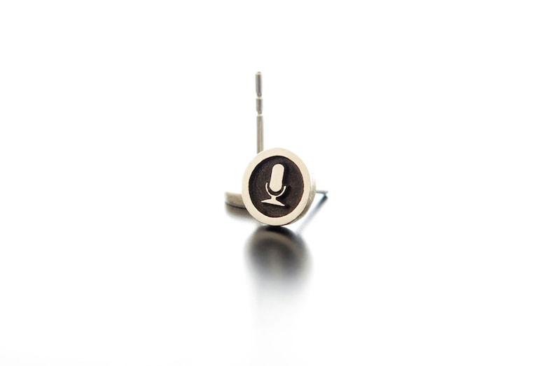 Singer earrings silver studsbest dj giftsMicrophone image 0
