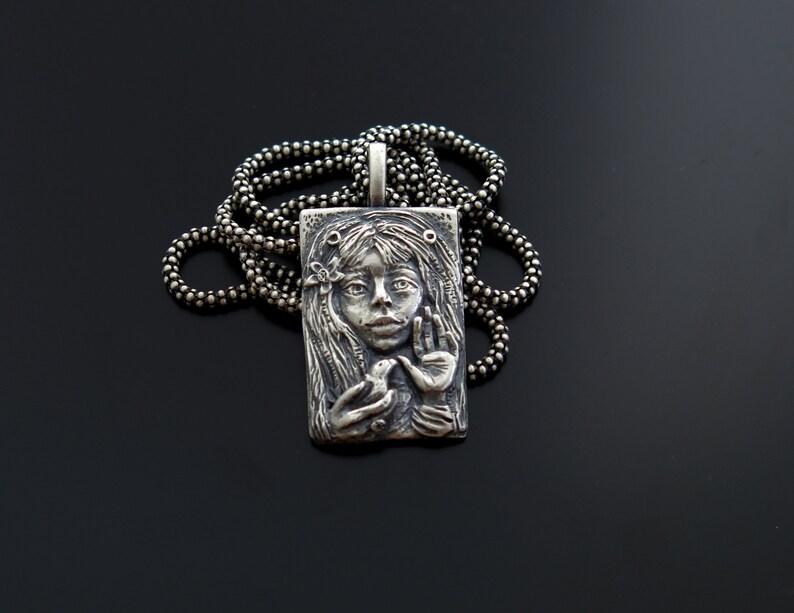 Art silver pendant Alice necklace Dream pendant sculpted image 0