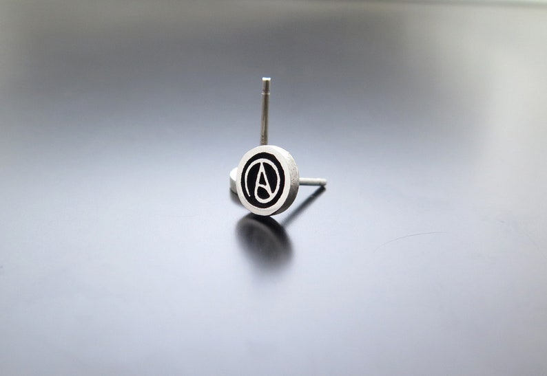 atheist symbol atheism jewelry atheism earrings silver image 0