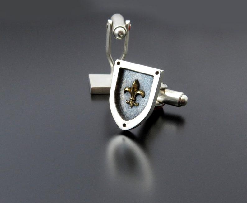 Fleur de lis cufflinks fleur de lis jewelry Heraldry image 0