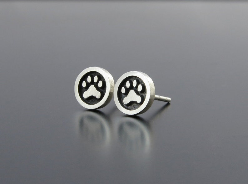 Silver Paw Earrings silver earring posts Animal paw studs image 0