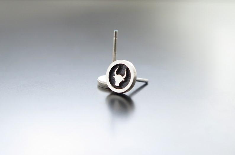 bull earrings silver earrings bull head earrings earrings image 0