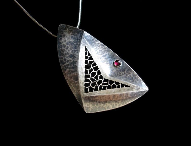 Handmade Big Silver Pendant Garnet stone necklace Big silver image 0