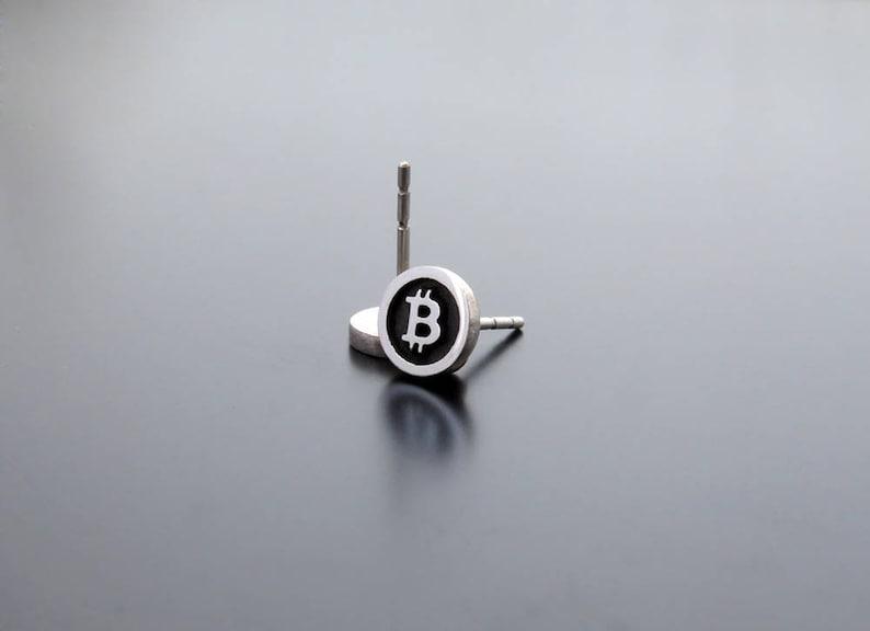 Silver Bitcoin earrings silver posts ear studs Bitcoin image 0