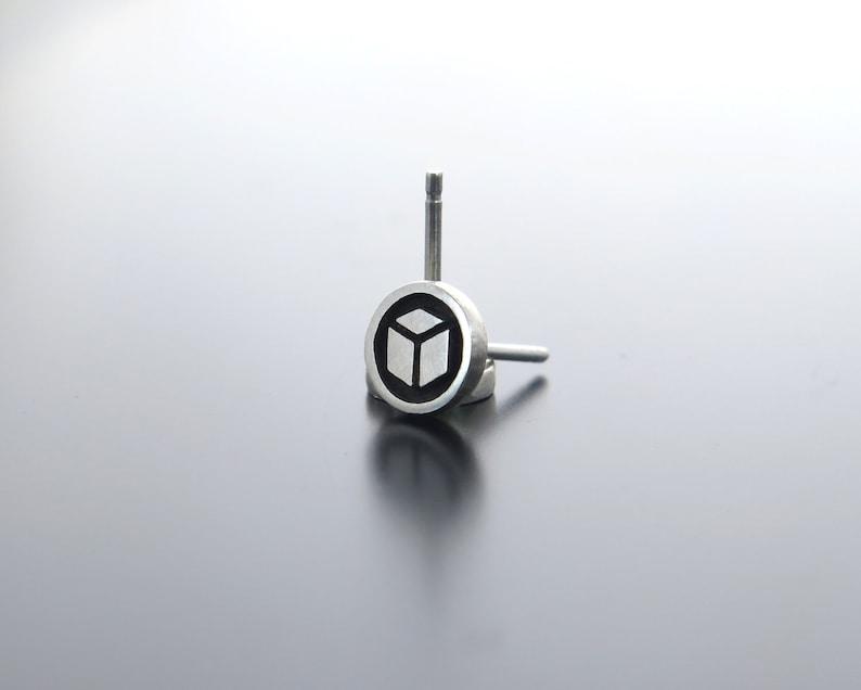 cube earrings silver earrings earrings cube stud earrings image 0