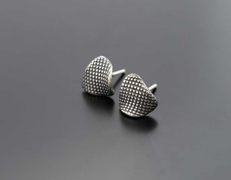 Silver Texture Earring Posts asymmetrical shape Studs image 0
