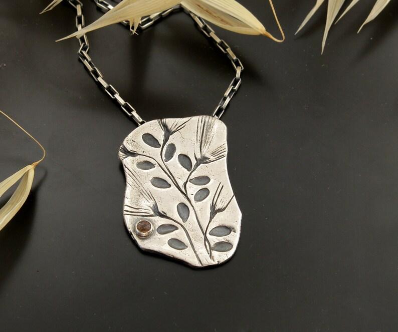 Handmade silver sun stone necklace sun amulet pendant nature image 0