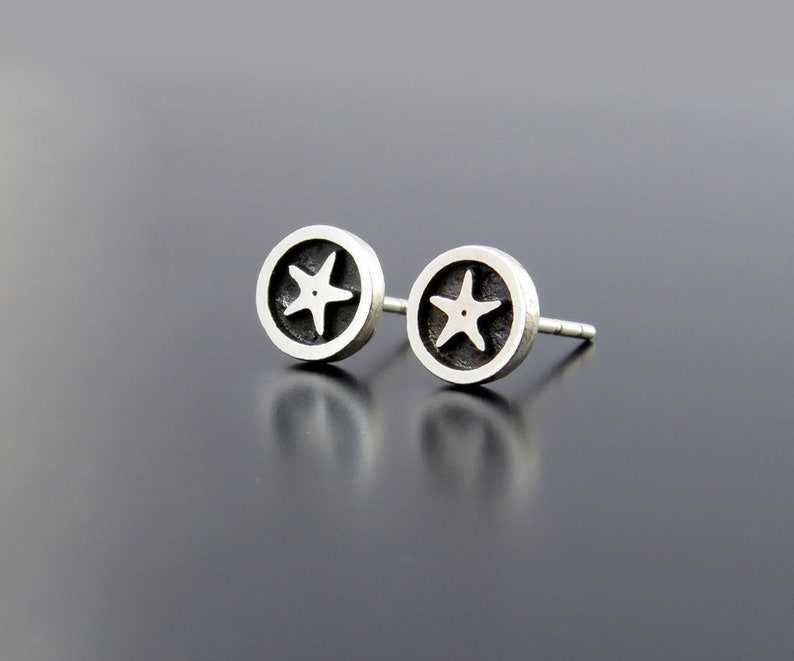 Silver Starfish Earrings Star studs Star fish earrings image 0