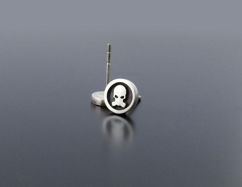 Silver Skull Earrings Skull studs Biker earrings punk image 0