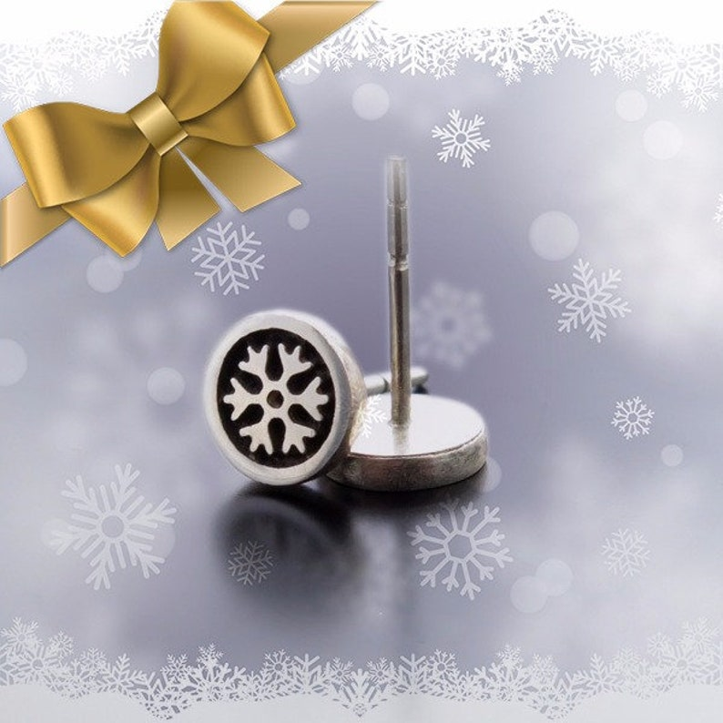 Snowflakes Earrings Christmas gift silver earring posts Snow image 0