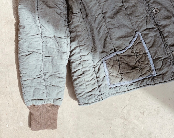 Quilted cotton liner coat - charcoal