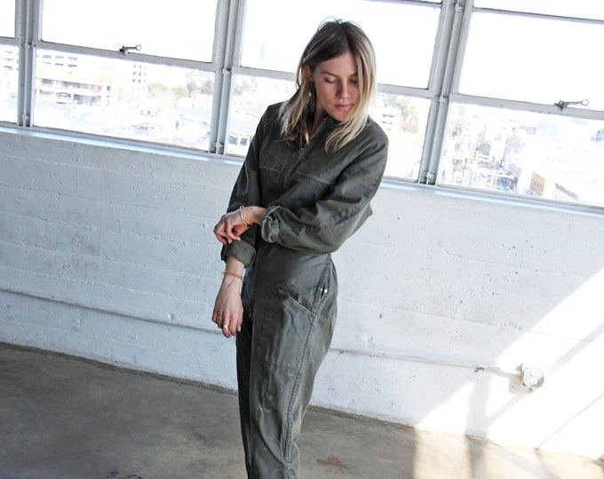 Olive Cotton Coveralls
