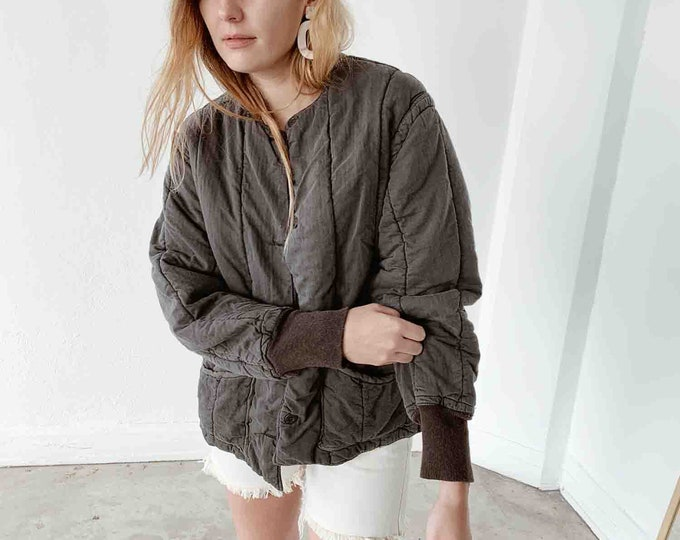 Quilted czech liner coat - charcoal