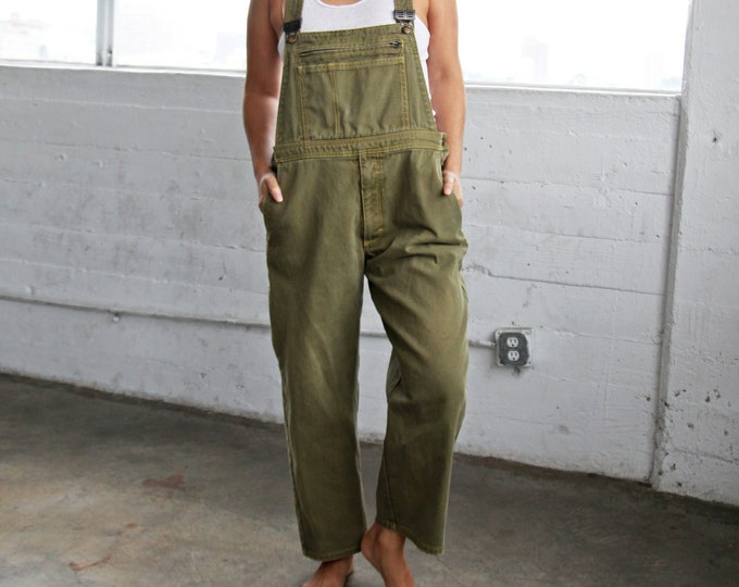 Olive Canvas Overalls