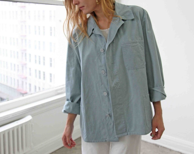 Change-button chore coat - periwinkle