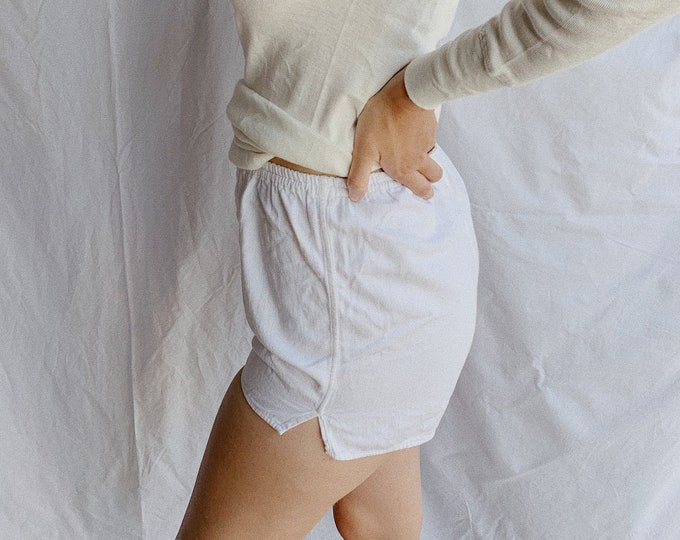 Cotton gym shorts - white