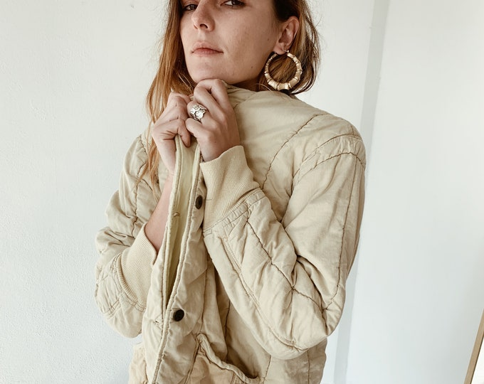 Quilted czech liner coat - créme